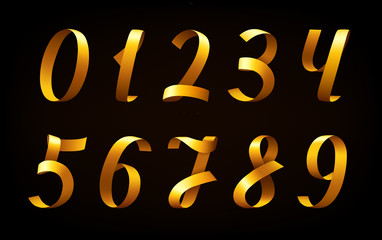 Golden ribbon numbers on black background