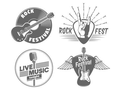 Rock fest badges. Vintage vector logos for rock concert of live music show