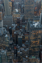 Wall Mural - New York City skyline aerial panorama view at night with  Times Square and skyscrapers of midtown Manhattan.