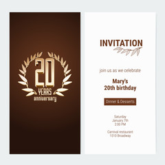 20 years anniversary invitation to celebrate the event vector illustration