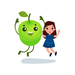 Cute little girl having fun with giant green apple character, best friends, healthy food for kids cartoon vector Illustration