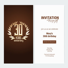 30 years anniversary invitation to celebrate the event vector illustration
