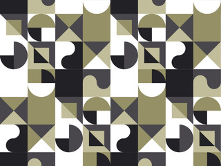 Abstract geometry backdrop with circles and squares for web and print. Black, white and beige color geometric pattern for surface design.