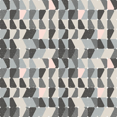 Modern vector abstract  geometric  seamless pattern with rounded squares in retro  style colors with worn out texture.