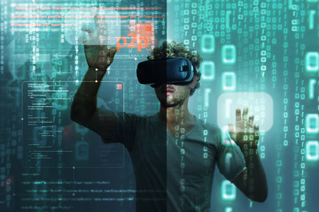 Wearing virtual reality 3D headset,hacker at work with graphic user interface around