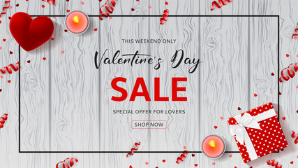 Happy Valentine's Day Sale Web Banner. Top view on composition with gift box, case for ring, candles and confetti on Wooden Texture. Vector illustration with Seasonal Discount Offer.