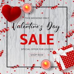 Happy Valentine's Day Sale Promo Background. Top view on composition with gift box, case for ring, candles and confetti on Wooden Texture. Vector illustration with Seasonal Discount Offer.