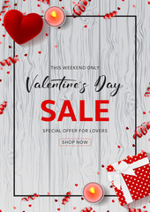 Happy Valentine's Day Sale Promo Poster. Top view on composition with gift box, case for ring, candles and confetti on Wooden Texture. Vector illustration with Seasonal Discount Offer.
