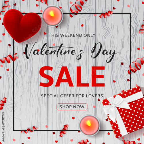 Happy Valentine S Day Sale Promo Background Top View On Composition