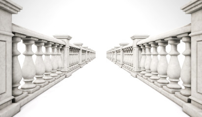 3d rendering marble ballustrade row with steps on a white background. 3d illustration.