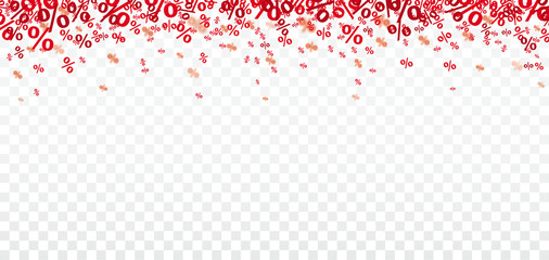 Red Percents Confetti Transparent