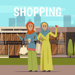 Arabic Woman And Shopping Background