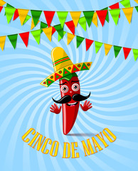 Cinco de Mayo celebration card or poster. Festival garland decoration and red chilli pepper character with sombrero hat on twisted background.