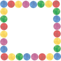 Square Frame of colorful woolen balls of thread and place for your text. Vector illustration, eps