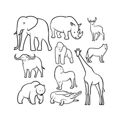 Set of cartoon animals sketches