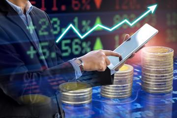 businessman analyze stock market exchange graph