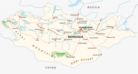 mongolia road and national park vector map