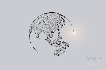The particles, geometric art, line and dot of Global world