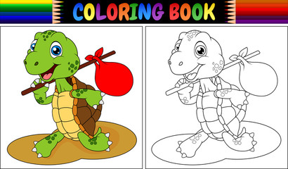 Coloring book turtle cartoon