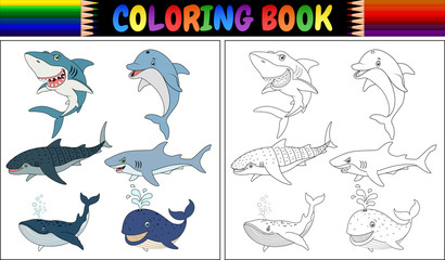 Coloring book with sea animals collection