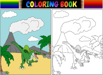 Coloring book with spinosaurus cartoon
