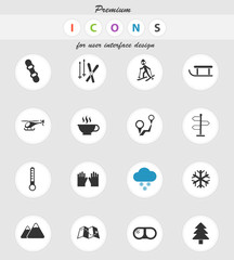 skiing icon set