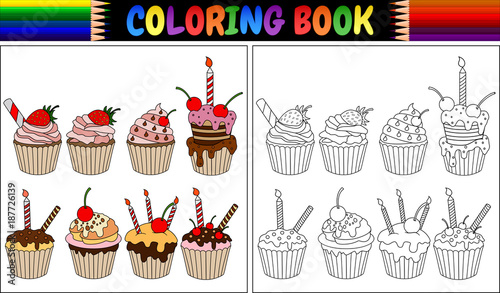 Coloring book birthday cake with candles\