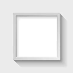 Realistic empty frame with rounded edges on light background, border for your creative project, vector design object