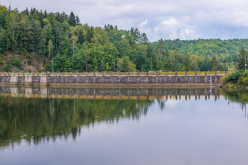 Zlotnickie Lake formed by a dam on River Kwisa in Poland