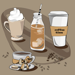 Various coffees. Vector illustration on brown background