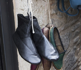 Close-up shot of traditional old turkish shoes