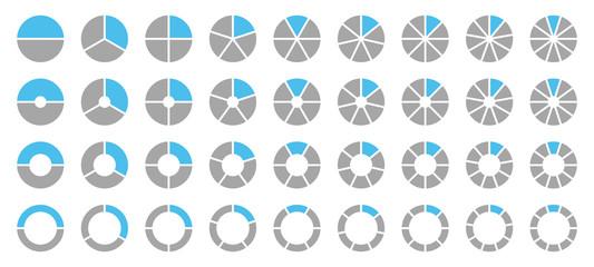 Set Pie Charts Grey/Blue