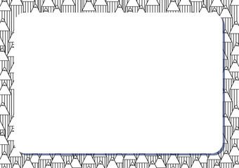 Blank white frame on background with set of cute cartoon pencils. Album orientation.