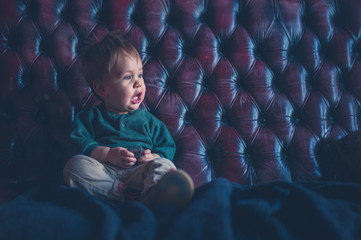 Little boy sitting on leather sofa