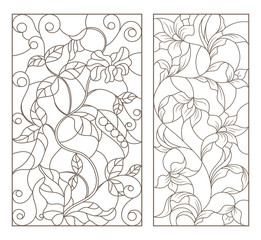 Set contour illustrations of stained glass with vines and flowers , black contour on white background