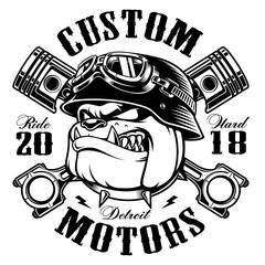 Biker Bulldog biker t-shirt design (monochrome version)