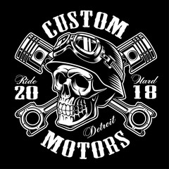 Biker skull with crossed pistons t-shirt design (monochrome version)