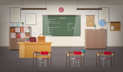 School classroom interior with green wall chalkboard, place for teacher, pendant lights, desks, chairs and other furnishings for studying and teaching. Colorful vector illustration in flat style.