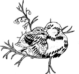 Illustration of two birds on a branch. Black and white drawing.