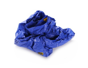 Crumpled blue plastic bag, isolated on white background