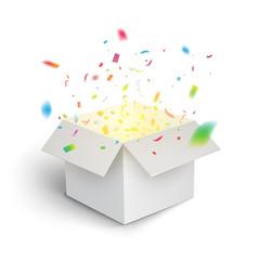 White gift box confetti explosion. Magic open surprise gift box package decoration