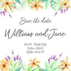 Wedding invite, invitation templates with hand drawn watercolor flowers, illustration, wedding.