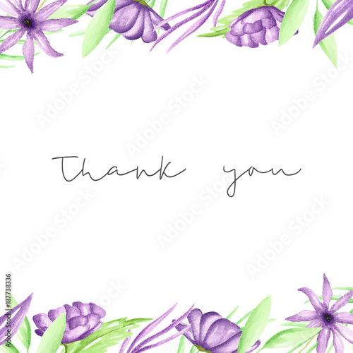 Thank you card template with hand drawn purple watercolor flowers