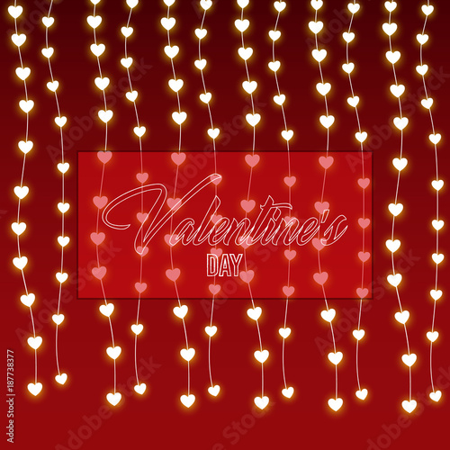 valentines day heart lights in red background retro vintage cute background vector illustration