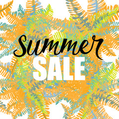Summer sale. Tropic leaves background. Orange, yellow and green leaves