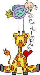 Giraffe and bird with red heart
