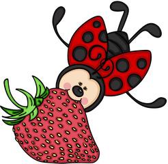 Ladybug flying with a strawberry