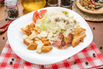 Healthy Green Organic Caesar Salad with Cheese