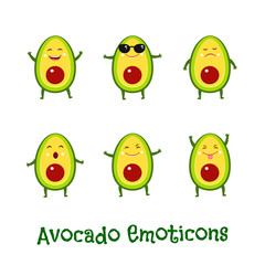 Avocado smiles. Cute cartoon emoticons. Emoji icons
