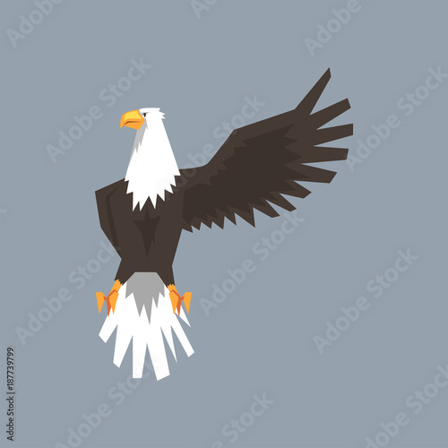 North American Bald Eagle Character Raising One Wing Symbol Of